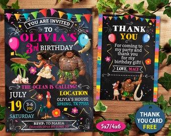Moana Invitation, Moana Birthday Invitation, Moana, Moana Card, Moana Invite Party, Moana Printable, Moana Digital