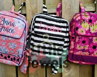 Custom Monogram Quilted Fabric Backpack Book Bag - Perfect for Back to School!