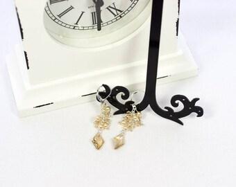 Swarovski crystal earrings, swarovski pearl earrings, golden pearl earrings, elegant earrings, dangle earrings, crystal earrings