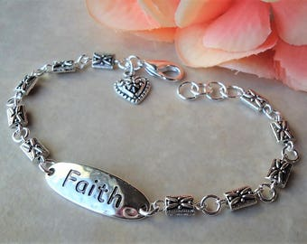 Faith Bracelet.Inspirational Words.Metal.Hammered.Small.Bridal.Dainty.Valentine.Heart Charm.Anniversity.Graduation.Birthday.Gift.Handmade.