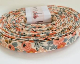 Rifle Paper Co Bias Tape -  Half Inches Double Fold Bias Tape - Quilt Binding - Les Fleurs Rosa Peach