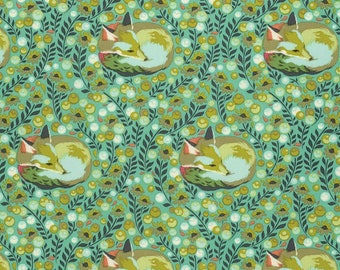 Tula Pink Fabric - Fox Nap in Mint - Chipper Collection - Fox Fabric - Free Spirits - Quilting Cotton