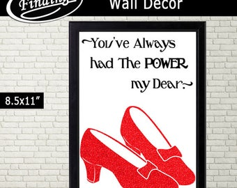 You have the Power! Wall Decor, Wizard of Oz Dorothy Shoes, Ruby Slippers Silhouette, Printable, Instant Download, red B&W, Glitter Wall Art