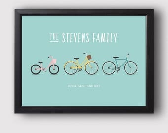 Personalised bike print, House warming present, Family bike print, New home gift, Cycling gift (Unframed)