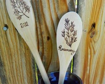 Herb Wooden Spoons, Cooking Utensils, Kitchen Accessories, Garden, Wedding Gifts, Personalized Cookware