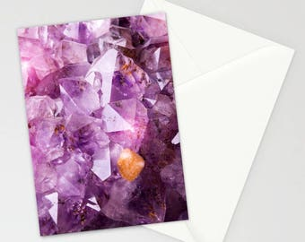Violet Amethyst Crystal Stationary, Purple Stationary, Stationary Set, Notecards, Thank You Cards, Spiritual Stationary Cards, Gifts for Her