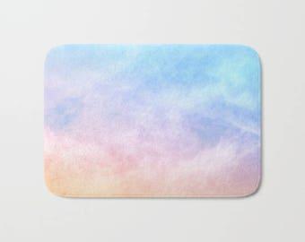 Pastel Watercolor Bath Mat, Rainbow Watercolor Shower Mat, Bathroom Mats, Kid's Bathroom Mat, Shower Mats, Pretty Bath Rugs, Soft Bath Mat