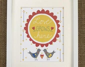 Home art print, hand-drawn and hand-lettered print, bird print, home wall decor