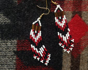 RED // BLACK beaded earrings