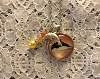 Dolphin at Sunset Charm Necklace/Dolphin Charm Necklace/Dolphin Pendant/Dolphin Jewelry