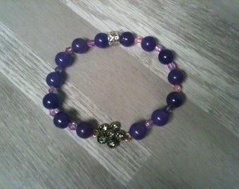 Bracelet charm elastic woman AMETHYST semi precious stone and rhinestone bracelet lytotherapie flower