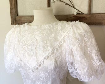 CALLA 1980's Gunne Sax by Jessica McClintook tea length Wedding dress. Jessica McClintook, tea length wedding dress, wedding, Gunne Sax lace