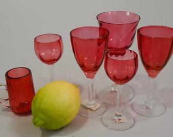 Collection of 6 Antique Cranberry Glass Cordials