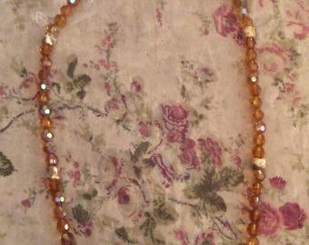 Copper Crystal beads necklace