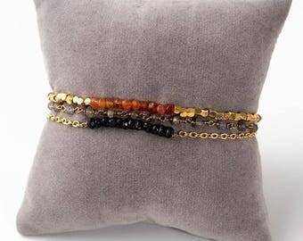 Bracelet 3 rows 18 k gold plated & fine stones