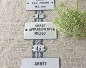 Vintage French Enamel Plaque// Antique Enameled Sign// Antique Paris Apartment Plaque// Industrial Sign