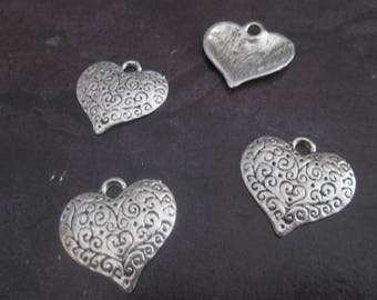 2 large heart metal charms silver plated 26 x 27 mm