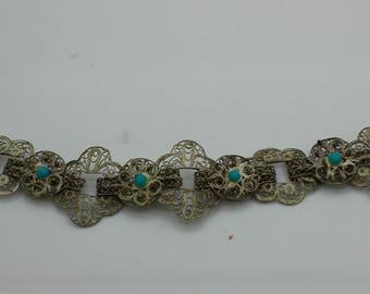 VINTAGE ISRAEL FILIGREE Sterling Silver Bracelet