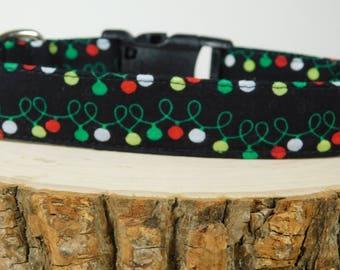 Dog Collar/ Lights Dog Collar/ Black Dog Collar/ Christmas Dog Collar