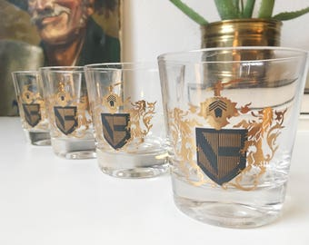 Vintage Heraldic Lions Coat of Arms Glasses + Set of 4 + Gold and Gray + Retro Barware + Shot Glasses Old Fashioned