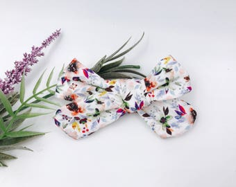 Baby Girl hand tied Bow - Nylon Headbands - Hair clip - Infant / Toddler /  Fabric Hair Bows / Clips - autumn berry rose