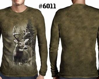New ultramodern 3D  High Quality  Hunting Deer Mens  Long Sleeve Brown T-shirt