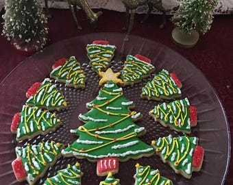 Gourmet Sugar Cookies Decorated Christmas Tree   One Dozen (12)   Made To  Order