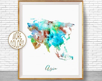 Asia Print Asia Map Asia Continent Map of Asia Map Wall Art Print Travel Map Travel Decor Office Decor Office Wall ArtGift for Women