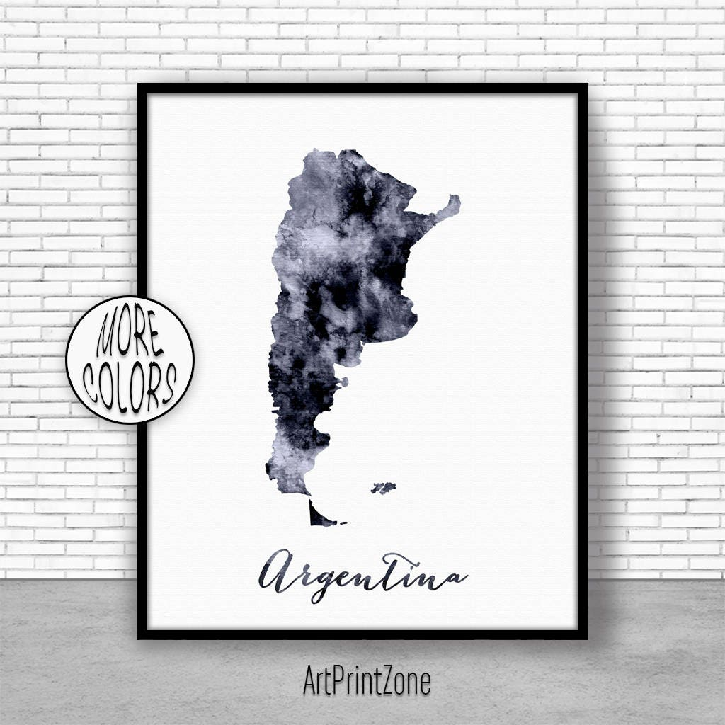 Argentina Print Office Art Print Watercolor Map Argentina Map - Argentina map to print