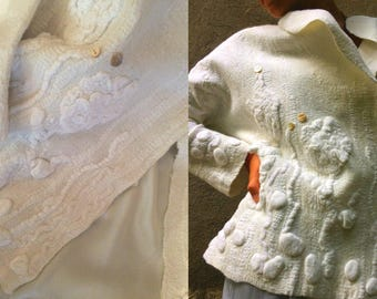 Wedding jacket, Women coat, wearable art, nuno felted coat, designer coat, Hand made, felted jacket, eco-fashion, wool Coat ,  Gift for her