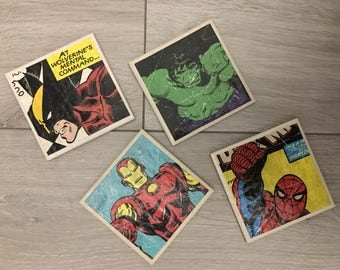 Marvel superhero coasters x 4