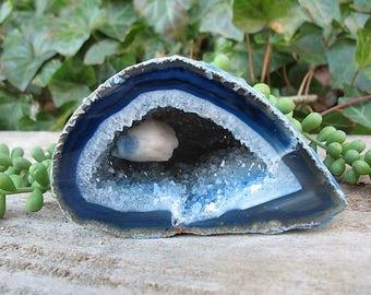 Brazilian agate geode half, agate nodule half, agate paper weight, agate geode specimen, blu1