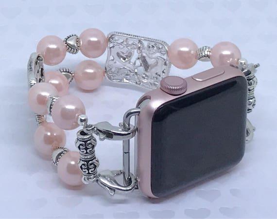 """Apple Watch Band, Women Bead Bracelet Watch Band, iWatch Strap, Apple Watch 38mm, Apple Watch 42mm, Silver Hearts Faux Pink Pearl 6 3/4""""- 7"""""""