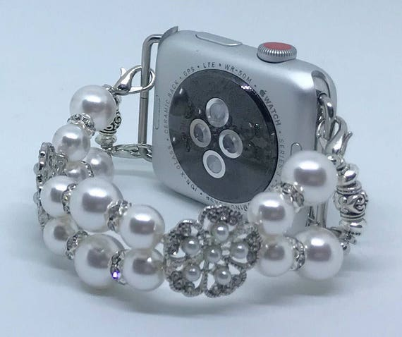 Apple Watch Band, Women Bead Bracelet Watch Band, iWatch Strap, Apple Watch 38mm, 42mm, White Swarovski Pearls Spacers Size 6""