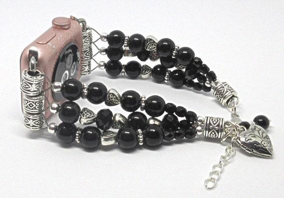 "Black Bead with Hearts Size 7 1/4"" to 8 1/4"", ADJUSTABLE APPLE WATCH Band, Women Bead Bracelet, iWatch Strap, Apple Watch 38mm (Custom) 42mm"