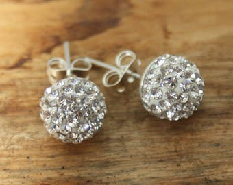 Silver Plated 9.5mm Pave Crystal Ball Earrings (TE-005)