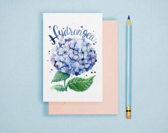 Watercolor Hydrangea Illustration Print - Watercolor Flower, Hyndrangea Postcard, Botanical Art Print, Botanical Illustration, Floral Art