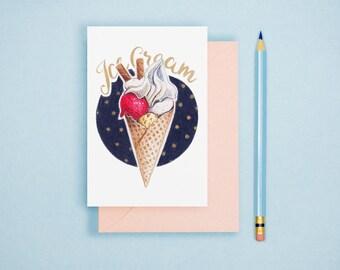 Ice Cream Illustration - Food Illustration, Kitchen Decor, Foodie Postcard, Dessert Art Print, Food Lover GIft, Kitchen Wall Art