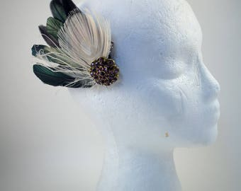 fascinator clip, feathers, cosplay, steam punk, wedding, grad, prom, bride, vintage