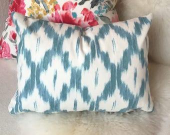White & Aqua Blue Throw Pillow in Ikat Pattern