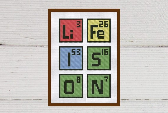 Cross stitch pattern life periodic table instant download pdf cross stitch pattern life periodic table instant download pdf counted chart modern embroidery letters from kiokiz on etsy studio urtaz Images