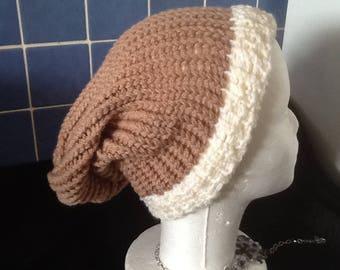Bonnet tricoter au tricotin fais mains