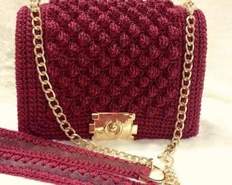 beautiful handmade crochet handbag, red color