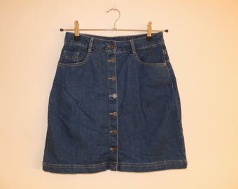 FREE SHIPPING - Vintage Blue Denim mini skirt with row of buttons, size approx. M