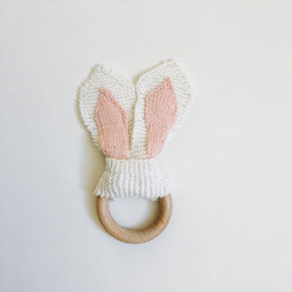 Wood teether, rattle baby toy, montessori, bunny ears, natural wooden ring non treated - workshop me