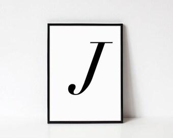 Scandinavian Printable Letter Print, Letter J, Black and White Typography Art