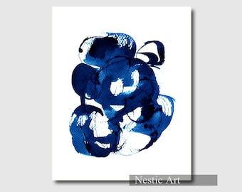 Blue Spiral B, watercolor, art print, brush work, home decor, wall art, blue and white, instant download, abstract, contemporary, Zen art