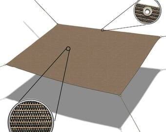Custom Sized Straight Edge Sun Shade Sail with Anti-rust Grommets and D-rings for Patio, Awning, Garden, Pergola or Gazebo  - Mocha Brown