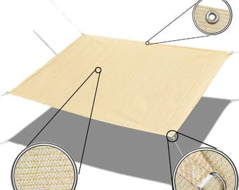Custom Sized Straight Edge Sun Shade Sail with Anti-rust Grommets and D-rings for Patio, Awning, Garden, Pergola or Gazebo  - Banha Beige