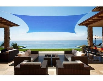 Custom Sized  Waterproof Woven Sun Shade Sail in Vibrant Colors - Sky Blue